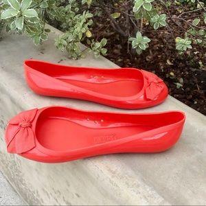J. CREW rainy day jelly ballet FLATS orange shoes
